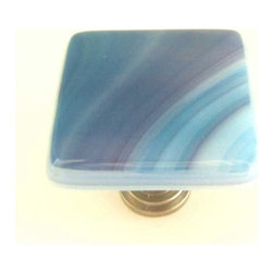 Uneek Glass Fusions - Blue Rasberry Swirls Fused Glass Knob - Collection: Liscio
