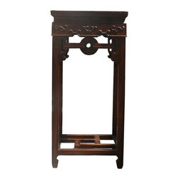Golden Lotus - Oriental Chinese Square Relief Carving Plant Stand Table - This is a traditional Chinese plant stand with nice relief carved motif around the apron. It is a decent piece for office or home displaying.