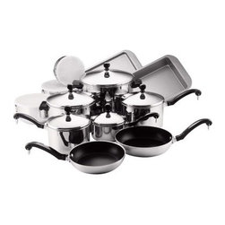 "Farberware Classic Series Stainless Steel 17 Piece Cookware Set - The Farberware 71238 Classic Series Stainless Steel 17 Piece Cookware Set is an economical way to equip your kitchen. Functional and handsome the 17 pieces in this set provide all the basic necessities for home cooking and baking. Each pot or pan is constructed of gleaming 18/10 stainless steel that encapsulates a thick aluminum core in the base the """"full cap"""" advantage that allows Farberware Classic cookware to cook evenly without hotspots. The stainless-steel lids and black phenolic handles in traditional styling can withstand oven heat up to 350°F. Suitable for stovetop as well as oven use the cookware in the set consists of: 1- 2- and 3-quart covered saucepans 4- and 8-quart covered saucepots and 8- and 10-inch nonstick aluminum skillets. For mixing and storing three nesting stainless steel bowls with ring handles and tight-fitting plastic lids are included. For baking a 9-by-13-inch nonstick cooking sheet and 9-by-13-inch nonstick cake pan complete this set. About FarberwareIn 1900 a tinsmith named S.W. Farber set up a shop in Manhattan where he started a small business making bowls and vases out of hand-pounded sheets of copper and brass. Since that time the Farberware company has grown exponentially; in 1930 they introduced their first line of percolators adding small appliances to the list of items for which they were already known. In today's market Farberware is valued for its product innovation. Over the years they have been responsible for such designs as the electric fry pan with removable probe for easy cleaning and the """"Open Hearth"""" smokeless broiler. Quality classic styling and years of tradition go into each Farberware product. With Farberware you know you're not just buying a piece of cookware; you're buying a legacy of great value."