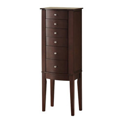 "Powell Furniture - Powell Furniture Merlot Jewelry Armoire - Powell Furniture - Jewelry Armoires - 398315 - The freestanding ""Merlot"" finished Jewelry armoire is accented with sleek round drawer pulls and thin straight legs. Sized for economy and function this jewelry armoire is the perfect piece to store all of your beloved treasures. Top opens up side doors open wide and deep drawers pull out to provide ample storage. Inside features plush black lining. Some assembly required."