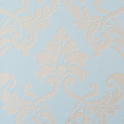 Walls Republic - Miss Passion Floral Damask Wallpaper, Blue, Double Roll - Grey and blue floral damask home wallpaper.