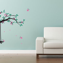 Cherry Walls - Garden Swing Wall Decal, Flowering Branch - Why sit pretty when you could swing pretty instead? Create a magical butterfly garden in the nursery or bedroom with this enchanting wall decal. With dancing butterflies, beautiful blossoms, and a swing that's just the right size, the decal will transform your wall and inspire your imagination.