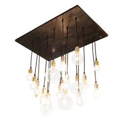 "Urban Chandy - Medium Urban Chandelier, Ebony with Black Cord and Silver Hardware - Hanging light fixture made from reclaimed plywood with varying vintage-look Edison style bulbs; ebony stain; silver & gold hardware.  Can be mounted flush to the ceiling or suspended down from the ceiling, only flush mount hardware is included in purchase. Base: 20""x30"", longest bulb hangs down 28"" from base, 4-G40 (25W), 4-G25 (25W), 6-S14 (11W), 1-A19 (25W), 1-ST18 (30W), 1-T9 (20W) and 1-T14 (40W);  total wattage of fixture is 401 watts. All parts UL approved.  Fixture itself does not have a UL rating.  Made to be hard-wired."