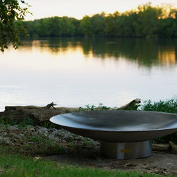 Fire Pit Art - Bella Vita Firepit - One of the largest stainless steel firepits ever made, the Bella Vita is the newest firepit created by artist Rick Wittig of Tennessee.  Each one is made to order so you know that you have a one of a kind work of art.