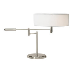 "Sonneman - Sonneman Perno Polished Nickel Swing Arm Desk Lamp - Reward your sense of style with this contemporary desk lamp design from Robert Sonneman. Featuring solid brass construction with a polished nickel finish the Perno is ideal for your workspace. Adjust the swing arm for the optimal lighting angle. Shallow off-white linen shade adds to the contemporary feel. Brass construction. Polished nickel finish. Off-white linen shade. takes two 60 watt bulbs (not included). 19"" high. 28"" wide. Shade is 15"" wide 5"" high. Arm extends 15 1/2"" maximum. Base is 9"" round.  Brass construction.   Polished nickel finish.  Off-white linen shade.  Takes two 60 watt bulbs (not included).  19"" high.  28"" wide.  Shade is 15"" wide 5"" high.  Arm extends 15 1/2"" maximum.  Base is 9"" round."