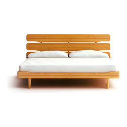 Beamish Bed - Snuggle up in a bed you can feel good about! The Beamish bed is made of sustainable bamboo, sturdily constructed into a rustic-modern bed with three-plank headboard. You'll sleep easy knowing your bed is both handsome and environmentally friendly.