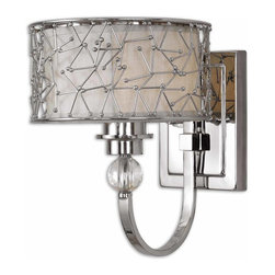 Uttermost - Brandon 1-Light Nickel-Plated Wall Sconce - Bring some dazzle to your decor. A frosted glass shade within an abstract sculpture sits atop a crystal orb to make a striking statement every time you flick on the light.