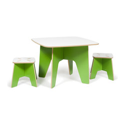 Quark Enterprises - Kids Table and 2 Stool Set, Green - The Sprout Kids Table and Stools are perfect for drawing, play, or projects. They are made just the right size so you won't have to worry about potential falls, securing a booster seat, or helping your little ones climb up and down. The surface is durable and stain resistant so any spills will clean up easily.