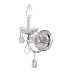 Crystorama - Wall Sconce - Imperial Collection has a beautiful, timeless detailing with the glass column and crystal accents. This collection comes in Chrome (for transitional settings) and in Gold (for traditionalists).
