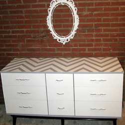 MOD Gray Dresser With Chevron Print By Shabby Maggie - Here's an interesting way to dress up a dresser.