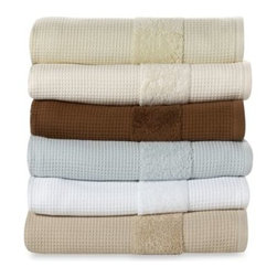 Kassatex - Hotel Spa Waffle Bath Towel - These soft and super absorbent bath towels feature a waffle pattern with a fluffy accent band. 100% Turkish cotton.