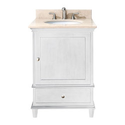 AVANITY WINDSOR 24 in. Bathroom Vanity - The Windsor collection is an elegant classic design with rich details. Each vanity offers multiple soft-close drawers for storage, it is crafted in birch solid wood with the highest workmanship. The galala beige stone top is special fabricated with a reversed-beveled edge to accomodate the vanity design. Also available is matching mirrors to complete your bathroom.