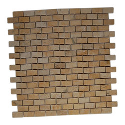 "GlassTileStore - Jerusalem Gold 1/2 X 1  Classic Brick Marble Tiles - JERUSALEM GOLD 1/2X1 BRICK PATTERN GLASS TILES  This classic brick tile in jerusalem gold each piece fits into the next like a perfect puzzle. This tile will bring warmth and a natural ambience to your home.      Chip Size: 1/2"" x 1""    Color: Jerusalem Gold   Material: Jerusalem Gold   Finish: Polish   Sold by the Sheet - each sheet measures 12""x12"" (1 sq. ft.)   Thickness: 8mm    - Glass Tile -"