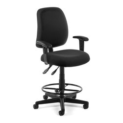 OFM - OFM Posture Task Chair with Arms and Drafting Kit in Black - OFM - Office Chairs - 1182AADK805 - You'll always have great posture with OFM's 118-2 Posture Series Task Stool with Arms. This task stool features built-in lumbar support 7-position adjustable arms plus adjustable back depth and height pitch and gas-lift seat height adjustment. High-quality fabric is rated to exceed 150000 double rubs and the seat back is fully upholstered. The wheeled 5-star base adds stability and includes adjustable foot ring. Weight capacity up to 250 lbs.