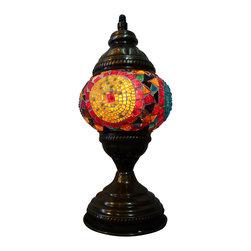 'Sunset' Tribal Mosaic Lamp,Authentic Desk Lamp , Moroccan Style Lamp - Authentic Desk Lamp , Moroccan Style Lamp , Night Lamp, Exotic Lamp