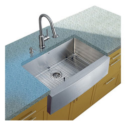 Vigo Industries - Platinum Farmhouse Stainless Steel Kitchen Sink Set with Faucet - Includes stainless steel kitchen sink, stainless steel kitchen faucet, matching grid, strainer and stainless steel soap dispenser.
