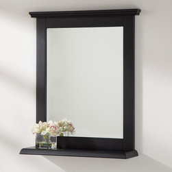 Jenner Collection Vanity Mirror - A beautiful finish makes the Jenner Collection Vanity Mirror a sophisticated complement to your bathroom decor. Made of solid wood, this handsome mirror has a beveled edge and is framed by a decorative cornice and convenient shelf.