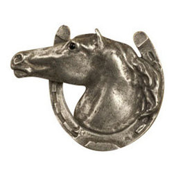 Anne at Home Hardware - Horse In Horseshoe Knob, Antique Bronze - Made in the USA - Anne at Home customized cabinet hardware enables even the most discriminating homeowner to achieve the look of their dreams.  Because Anne at Home cabinet hardware is designed to meet your preferences, it may take up to 3-4 weeks to arrive at your door. But don't let that stop you - having customized Anne at Home cabinet knobs and pulls are well worth the wait!   - Available in many finishes.