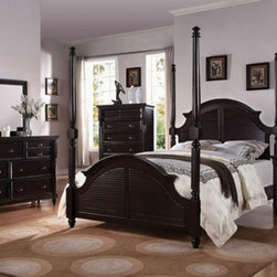 Acme Furniture - Charisma Dark Espress Finish 5 Piece King Canopy Bedroom Set - - Set includes California King Bed, Dresser, Mirror, Nightstand and Chest