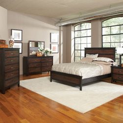 "Coaster - Conway 5Pc Queen Bedroom Set in Brown/Black Finish - Discover a refreshing styling with the Conway Collection. Clean and modern, it is sure to stylize your bedroom. It is crafted with a unique bandsaw-effect brown finish complemented with deep black tones to create a stunning contrast and contemporary look. Case pieces are decorated with metal hardware drawer pulls and lifted on short, straight legs. Timeless and chic, Conway is calming and cool for a wonderful bedroom design option in your home.; This set includes bed, nightstand, dresser, mirror and chest.; Transitional Style; Two-Tone Brown/Black Finish; Dimensions: Bed: 85.25""L x 65.75""W x 55.50""H; Nightstand: 28""L x 16""W x 26.75""H; Dresser: 63""L x 18""W x 38.25""H; Mirror: 39.25""L x 0.90""W x 34.50""H; Chest: 36""L x 18""W x 53.25""H"