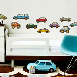 Simple Shapes - Cars - Car lovers! Use your walls and our Peel & Stick Wall Stickers a learning tool! Each vehicle is its own fabric sticker that your child can peel off and stick to the wall. You will love the fact that they can peel off and move the stickers around as they please.