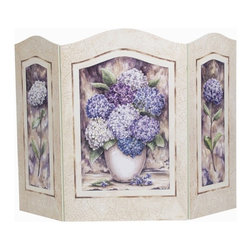 "Stupell Industries - Shabby Chic Hydrangea 3 Panel Decorative Fireplace Screen - Decorative and functional. Made in USA. Original Stupell art. Center panel: 20 in. W (Approx.). Side panel: 11.5 in. W (Approx.). 44 in. W x 31 in. H (Approx.). 0.5 in. ThickA fireplace screen from ""The Stupell Home decor Collection"" will be the focal point of any room and the beautiful color and design will immediately enhance your hearth and it's surroundings. Both functional and decorative, this one of kind screen will keep your fireplace out of sight when it's not in use. This piece is handcrafted from original artwork by English muralist Julie Perren. A lithograph is laminated on sturdy 0.5 in. thick mdf fiberboard and the sides are hand painted. The item is already assembled in the box and ready to be put in front of the fireplace. Made in USA."