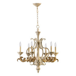 Quorum Lighting - Quorum Lighting Florence Traditional Chandelier X-07-6-7306 - From the Florence Collection, this Quorum Lighting traditional chandelier features an array of classic details including a chain suspension, large leaves, turning and carving to the center pillar and beautiful candelabra lights. Persian White finishing accentuates all the finer details, completing the look.