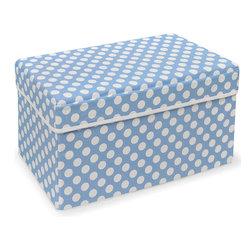 Badger Basket - Blue Polka Dot Double Folding Storage Seat - Pink Polka Dot Double Folding Storage Seat