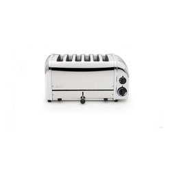 6 Slice  Vario Toaster - Dualit - When four simply isn't enough. The 6 slot Vario toaster can produce a staggering 130 rounds of toast every hour, and is perfect for catering environments or large families. It is undeniably Dualit in styling, with Dualit's trademark mechanical timer and ejector lever. Unlike the 2 and 4 slot NewGen versions, it does not incorporate defrost or bagel settings. The selector control allows you to heat two, four or all six slots.