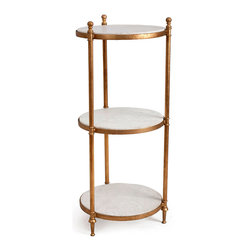 Three Tier Fluted Etagere - Three tall legs, each crowned with a turned ball finial, support the white stone shelves of the Three Tier Fluted Etagere.  Rendered in the timelessly glorious combination of white and metallic gold, this etagere is tailor-made for the display of architectural fragments or other neo-Classical showpieces, but functional use in a bedroom or bath is visually beyond compare.