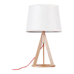 ParrotUncle - Russia Ash Wood Base Mini Desk Lamp - If you're searching for relaxed refinement, this mini desk lamp fits the bill. Topped with a chic round fabric shade, it's supported by a wooden tripod with O-ring base. Contrasting natural and painting finishes draw the eye and light up your space with a contemporary allure.