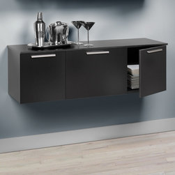 """Prepac - Black Coal Harbor Wall Mounted Buffet - Fusing style and practicality, the Coal Harbor Buffet lends function to any space without taking up room on the floor plan. This versatile, modern piece maximizes the storage and organization potential of your dining room, living room, office or entryway. The center compartment has an adjustable shelf for storing smaller items like dishes, and all doors come equipped with tastefully hidden self-closing hinges and solid metal handles with a brushed nickel finish. Pair it with the Coal Harbor Hutch and get the perfect duo for space-saving storage.; Detailed with solid rectangular brushed nickel handles; Center compartment includes one adjustable shelf; Three doors with hidden, self-closing hinges; Finished in durable deep black laminate; Mounts easily to wall with our innovative hanging rail system; Constructed from high quality, laminated composite woods and an MDF backer; Ships Ready to Assemble, includes an instruction booklet for easy assembly and has a 5-year manufacturer's limited warranty on parts; Proudly manufactured in North America; Dimensions: 47.25""""W x 15""""H x 15.75""""D"""