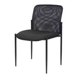 Boss Chairs - Boss Chairs Boss B6919 Mesh Guest Chair - Patented contemporary style. Powder coated tubular steel frame. Stackable for space saving storage. Waterfall seat to reduce stress on legs. Tapered legs. Stacks 4 high.