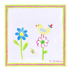 Stupell Industries - Yellow Bird Flower and Heart Square Wall Plaque - Made in USA. MDF Fiberboard. Hand finished and packed. Approx. 12 in. W x 12 in. L. 0.5 in. ThickThe Kids Room by Stupell features exceptional handcrafted wall decor for children of all ages.  Using original art designed by in-house artists, all pieces feature hand painted and grooved borders as well as colorful grosgrain ribbon for hanging.  Made in the USA, everything found in The Kids Room by Stupell exudes extraordinary detail with crisp vibrant color. Whether you are looking for one piece to match an existing room's theme, or looking for a series to bring the kid's room to life, you will most definitely find what you are looking for in The Kids Room by Stupell.