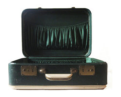 Forest Green Vintage Suitcase - A dark green suitcase, perfect for display in a mid century room or placed on a vintage luggage rack!