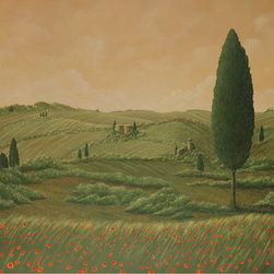 """Lavaggi, Inc., Steven Lavaggi, Artist of Hope - Tuscan Vision Lithograph Print - The ambient golden glow on the horizon invites the viewer into this warm, serene scene as the reflections echo a sense of tranquility. Unframed, hand-signed lithograph, artist's proof, limited edition. Printed on archival, acid-free paper. Made in the USA. Ships in a tube. Paper size 20""""W x 16""""H. Image size 16""""W x 12""""H."""