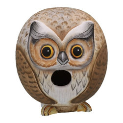 Songbird Essentials - Owl Gord-O Birdhouse - Songbird Essentials adds color and whimsy to any garden with our beautifully detailed wooden birdhouses that come ready to hang under the canopy of your trees. Hand-carved from albesia wood, a renewable resource, each birdhouse is hand painted with non-toxic paints and coated with polyurethane to protect them from the elements. By using all natural and nontoxic components Songbird Essentials has created a safe environment complete with clean-out for our feathered friends.