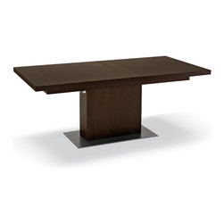 DomItalia Furniture - Vita Rectangular Dining Table in Wenge - With extendable top for impressive versatility, robust veneered support post, tough lacquered steel base plate, Vita Wenge Rectangular Dining Table seats up to 10 persons when is fully opened. Its unparalleled beauty will perfectly complement your decor. You can also add extra extension (sold separately).