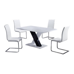 "Global Furniture USA - D490DT + D490DC Black & White Lacquer Five Piece Dining Set - This black and white high gloss dining table will create an instant upgrade to your current decor. Featuring a rectangular top and ""X"" shaped base this piece is sure to suit your entertaining needs. The elegant design of these armless chairs beautifully compliment the look of the dining table. The chairs come wrapped in a stunning white vinyl material with a high curved back. These pieces not only boast a sophisticated look, but they are exceptionally comfortable as well. The dining set includes the dining table and four chairs only."
