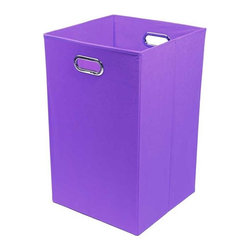 Modern Littles - Color Pop Solid Purple Folding Laundry Basket - Are you toting around your laundry from floor to floor in a bag? Or worse, you have no laundry bin at all and everything winds up on the closet floor? This cool, colorful basket will solve your problem and the reinforced handles make it easy to move from room to room.