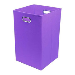 Bold Solid Purple Folding Laundry Basket