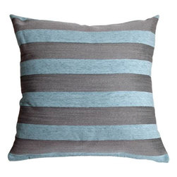Pillow Decor - Pillow Decor - Brackendale Stripes Sea Blue Throw Pillow - Made from a beautiful and durable upholstery fabric, this throw pillow has bold horizontal stripes in a black and gray weave alternating with soft misty sea blue chenille stripes. The contrasting texture of the stripes give this pillow depth and beauty.