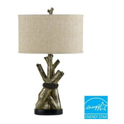 CAL Lighting - CAL Lighting Table Lamp: 28.25 in. Tree Trunks Table Lamp BO-2149TB - Shop for Lighting & Fans at The Home Depot. This rustic themed table lamp features a carefully crafted resin faux tree trunk design. It brings a touch of the outdoors into your home. It is elegantly finished in a painted metallic and topped with a neutral texturized fabric shade.