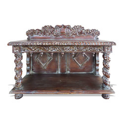 Jackie Console, Distressed Mahogany with Gold Leaf and Silver Leaf with Teal - Jackie Console, Distressed Mahogany with Gold Leaf and Silver Leaf with Teal
