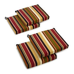 Blazing Needles - Blazing Needles Outdoor All Weather UV Resistant 4-Piece Patio Chair Cushion Set - Shop for Cushions and Pads from Hayneedle.com! With the Blazing Needles Outdoor All Weather UV Resistant 4-Piece Patio Chair Cushion Set you can add style and comfort to your whole patio set. This set of four cushions is available in a range of pattern and color options to maximize the personality of your outdoor living space. They're made durable from an all-weather fabric that's fade- and water-resistant and have thick polyester fill. Handy Velcro straps keep these cushions in place.About Blazing NeedlesBlazing Needles L.P. specializes in the manufacture of cushions pillows and futons. As a sister company of International Caravan Inc. Blazing Needles provides a wide variety of cushions to fit the frames and furniture pieces made by International Caravan. In particular Blazing Needles' production of papasan cushions occupies a unique niche within their industry and sets them apart as a prime supplier for certain retailers. Other services they provide include contract filling sewing and import sourcing. The headquarters of International Caravan and Blazing Needles is located in Fort Worth Texas.