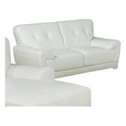 Monarch Specialties - Monarch Specialties 8802WH Loveseat in White Leather - This modern white bonded leather love seat will make a wonderful addition to your living room. Its contemporary shape enhances any room with its plush back, box seat cushions and slightly angled lines. The stitching and button tufted design enhances the look of this love seat, while still offering you ample room. The chic design creates an inviting feel, and solid feet provide sturdy support this piece. It is also a perfect match with the chair and sofa.