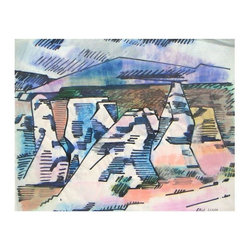 "Pre-owned Modernist Art Erle Loran Painted Desert California - Erle Loran [estate stamp l.r.], Painted Desert Oregon, gouache on sketch paper, 1970s. Size: 17 x 14"" unframed. Good vintage condition. Never framed nor matted. From estate collection. Listed Hughes, Artists in CA, askart, artprice, etc    ""Erle Loran was born in 1905 in Minneapolis. After graduating from the University of Minnesota, Loran studied at the Minneapolis School of Art and later in Paris. In 1936, he moved to California where be began his long teaching career in the art department of the University of California, Berkeley. It would also be during this period that Loran would associate himself with modernist Hans Hoffman. His works can be seen at the San Francisco Museum of Modern Art, the Denver Museum, the University of Minnesota, the Santa Barbara Museum, and the International Business Machines (IBM) Corporation."""