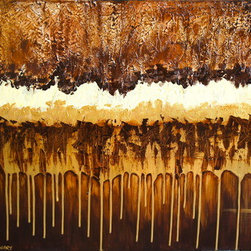 """Chocolate Tears"" (Original) By Neha Chaudhary - This Piece Uses Metallic And Matte Acrylics In Different Shades Of Cream, Gold, And Browns On Top Of Plaster To Create Texture And Depth.The Painting Uses A Drip Technique To Convey A Unique Downward Flow. The Perfect Addition To Any Earth-Tone Room."