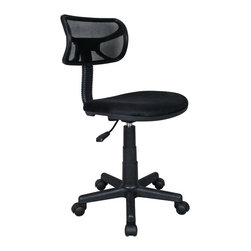 """Techni Mobili - Techni Mobili Mesh Task Chair in Black - Mesh Task Chair in Black by Techni Mobli The Techni Mobili Mesh Task Chair is a fun, lightweight office chair that features breathable mesh back support, a contoured fabric seat cushion, and a pneumatic seat height adjustment lever that provides a 3 inch range in seat height from 15.5"""" to 18.5"""". The durable design includes a heavy-duty plastic shell back, a 5-star nylon base provide, and dual wheel non-marking casters for durable, stable mobility. COLOR: Black.  Office Chair (1)"""