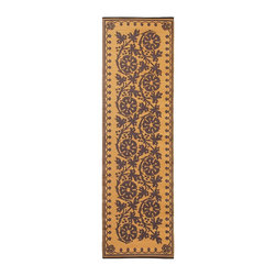 Achla - Cinnamon Cinquefoil Floor Mat - Color the ground you walk or sit on with these polyurethane woven floor mats. Spread them out at the beach, on the porch, floors in the kitchen and childrens rooms or hang them on the wall. Soft on the feet and easy to wipe clean. We recommended using carpet tape to hold them in place indoors. Our mats are made to last, but like everything else, we need to take good care of them. Ideally they should be kept rolled when not in use. Try to avoid leaving mats exposed to sun or rain for long periods of time. Wash by hand and allow to drip dry. Polyurethane, woven floor mats. Used both Indoor and Outdoor. Construction Material: Plastic. No Assembly Required. 24 in. W x 96 in. D x 0.25 in. H (2 lbs.)